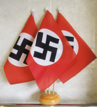 WWII REGULAR NAZI - 3 X TABLE FLAG WITH WOODEN BASE
